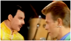 Freddie Mercury and David Bowie sing Under Pressure
