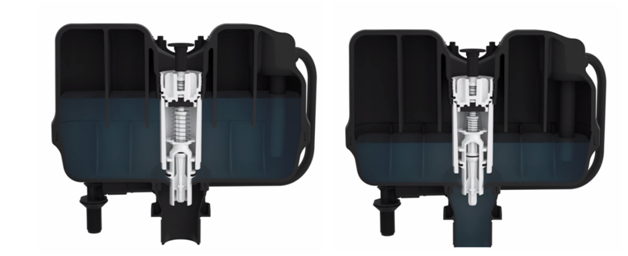Uncompressed vs compressed air mechanism. Image courtesy of Flushmate.